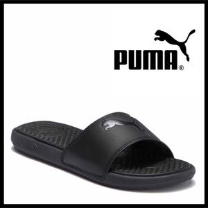 PUMA BLACK SLIDES SLIP ON SPORT CAT SANDALS A3C